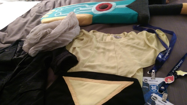The full costume laid out before debut day at PAX!