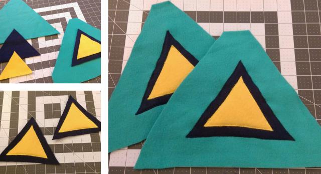 Triangles on triangles on triangles. So many layers of fleece mean very fluffy sword.